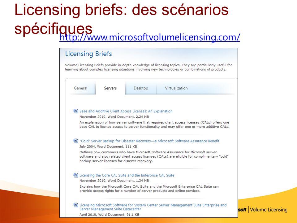 Licensing briefs: des scénarios spécifiques