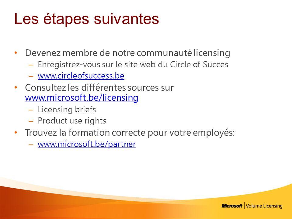 Les étapes suivantes Devenez membre de notre communauté licensing