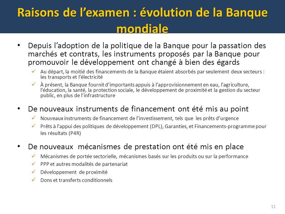 Raisons de l'examen : évolution de la Banque mondiale