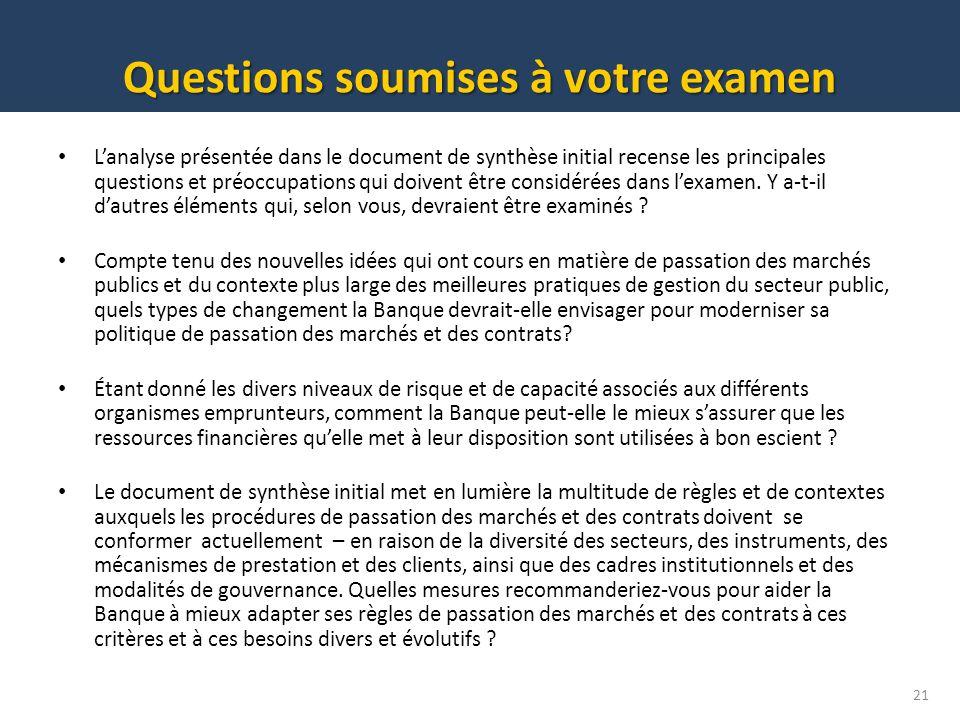 Questions soumises à votre examen