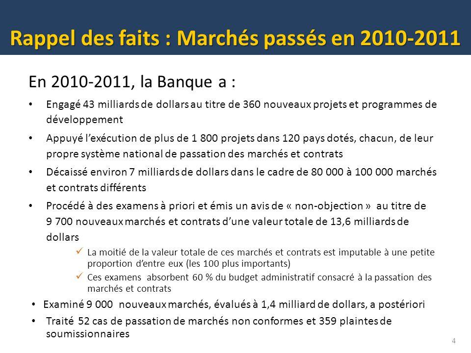Rappel des faits : Marchés passés en 2010-2011