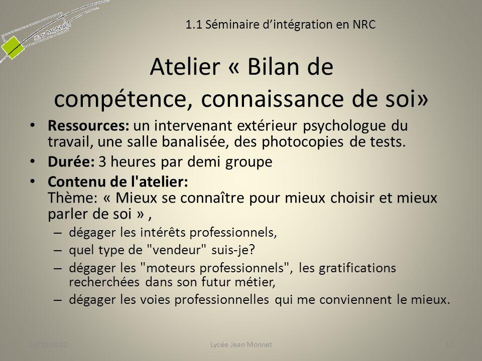 Atelier « Bilan de compétence, connaissance de soi»