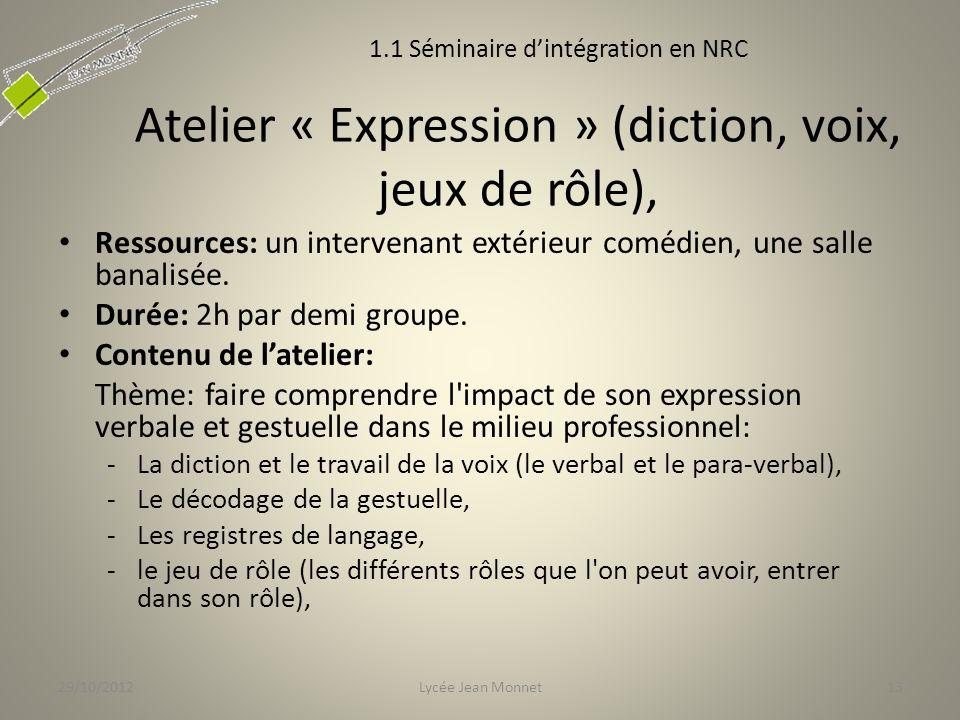 Atelier « Expression » (diction, voix, jeux de rôle),