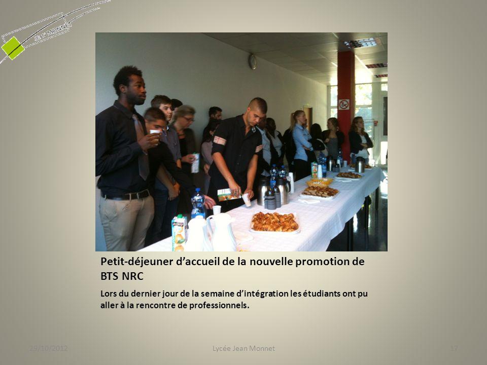 Petit-déjeuner d'accueil de la nouvelle promotion de BTS NRC