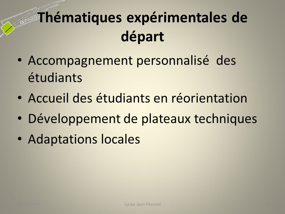 Thématiques expérimentales de départ