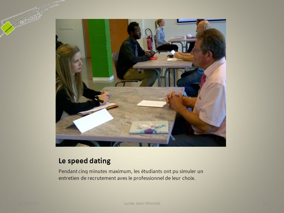 29/10/2012 Le speed dating.
