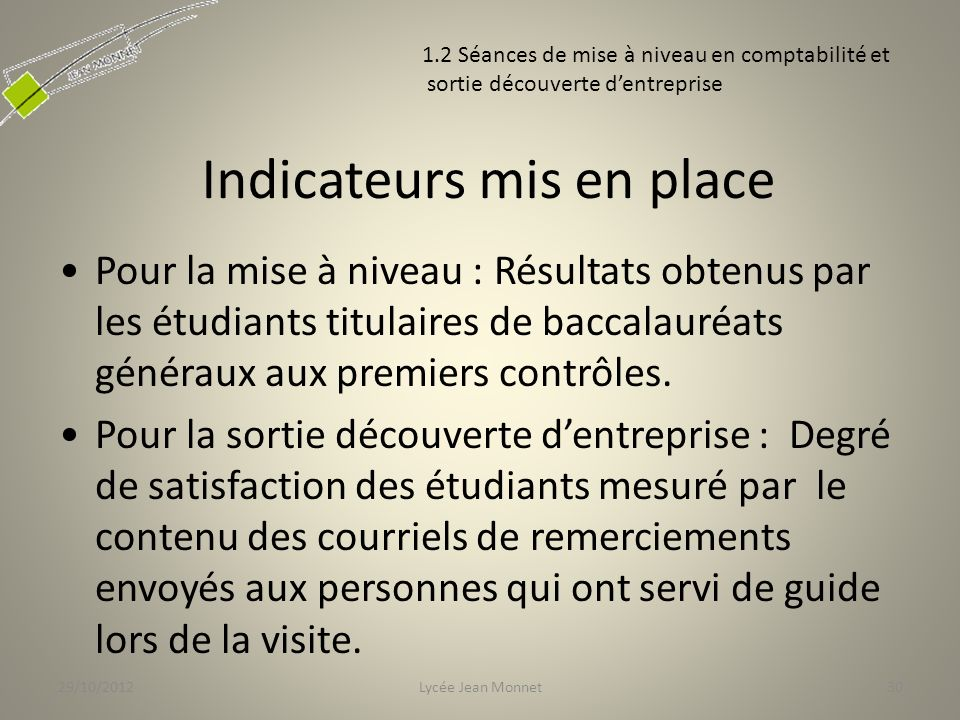 Indicateurs mis en place