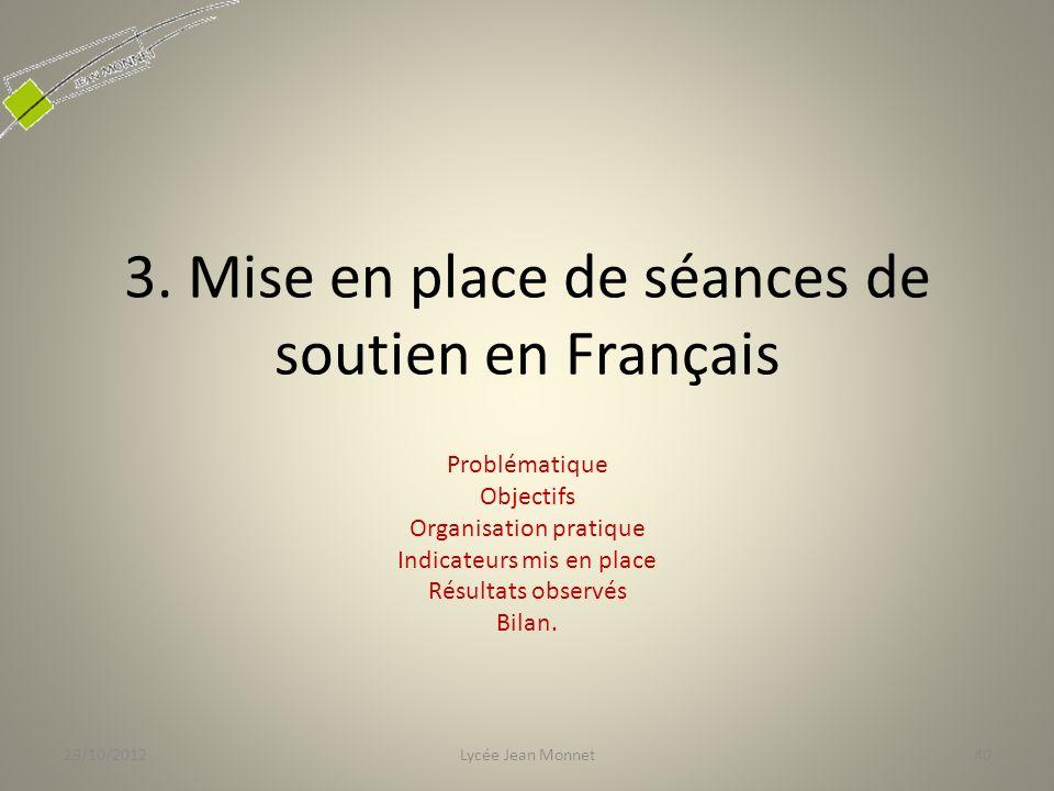 3. Mise en place de séances de soutien en Français