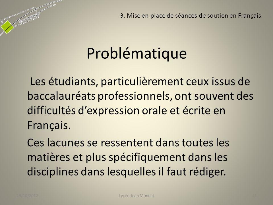 29/10/2012 3. Mise en place de séances de soutien en Français. Problématique.