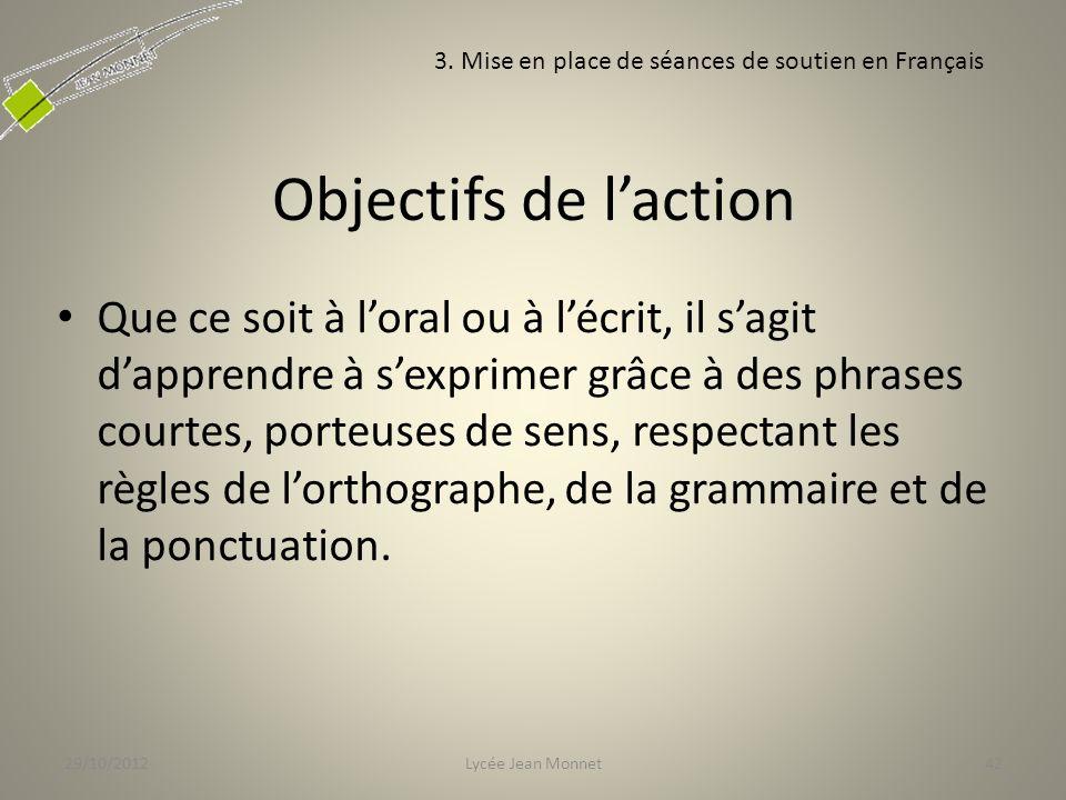 29/10/2012 3. Mise en place de séances de soutien en Français. Objectifs de l'action.