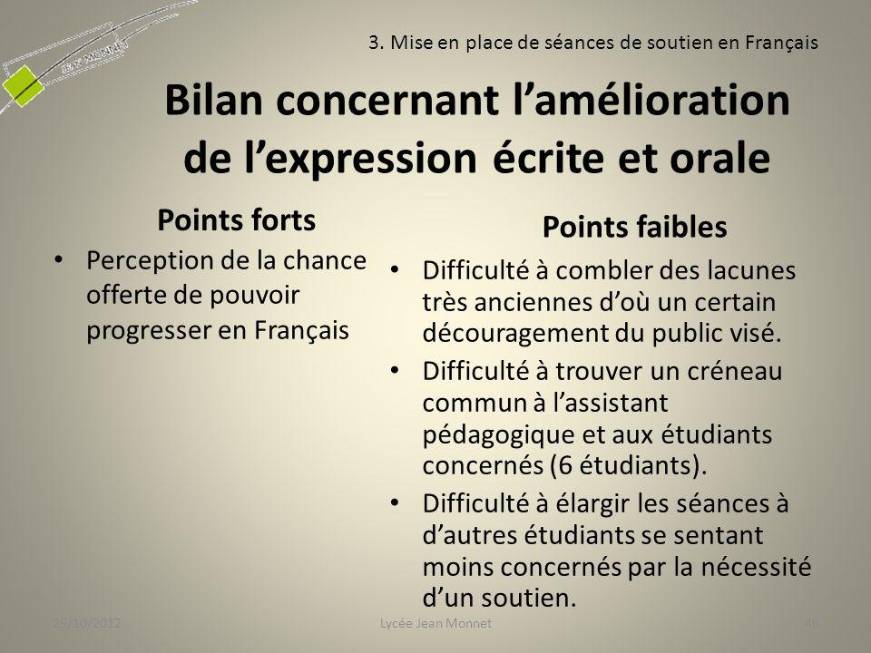 Bilan concernant l'amélioration de l'expression écrite et orale