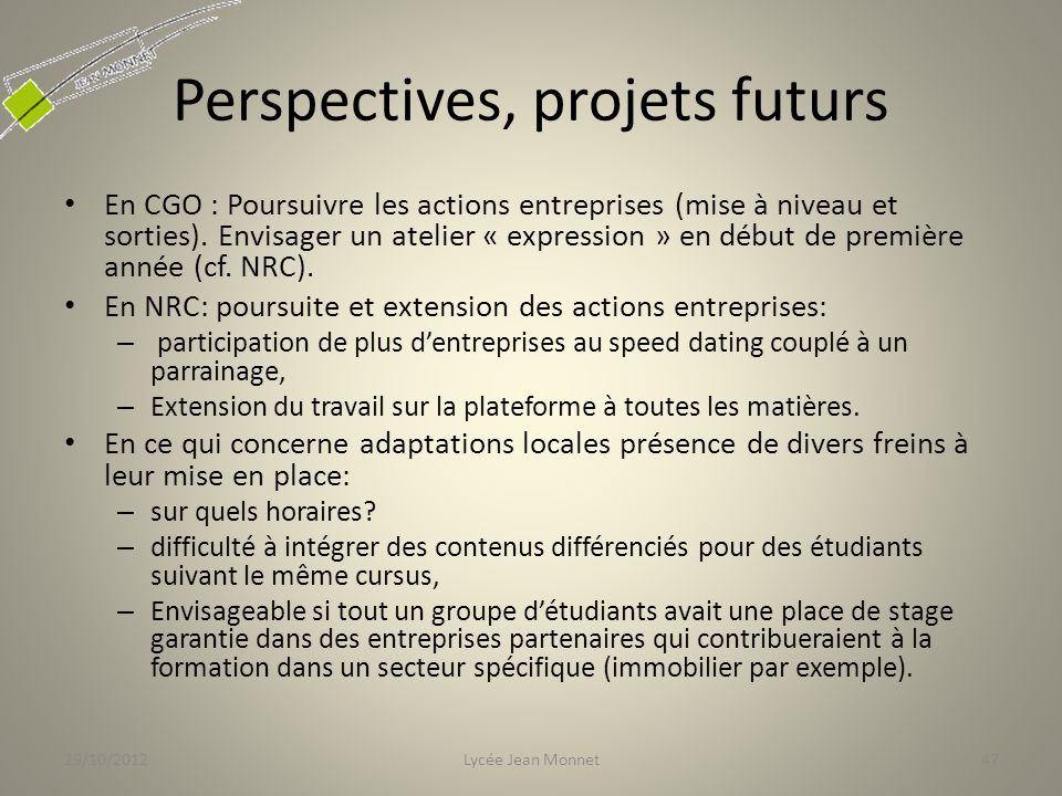 Perspectives, projets futurs