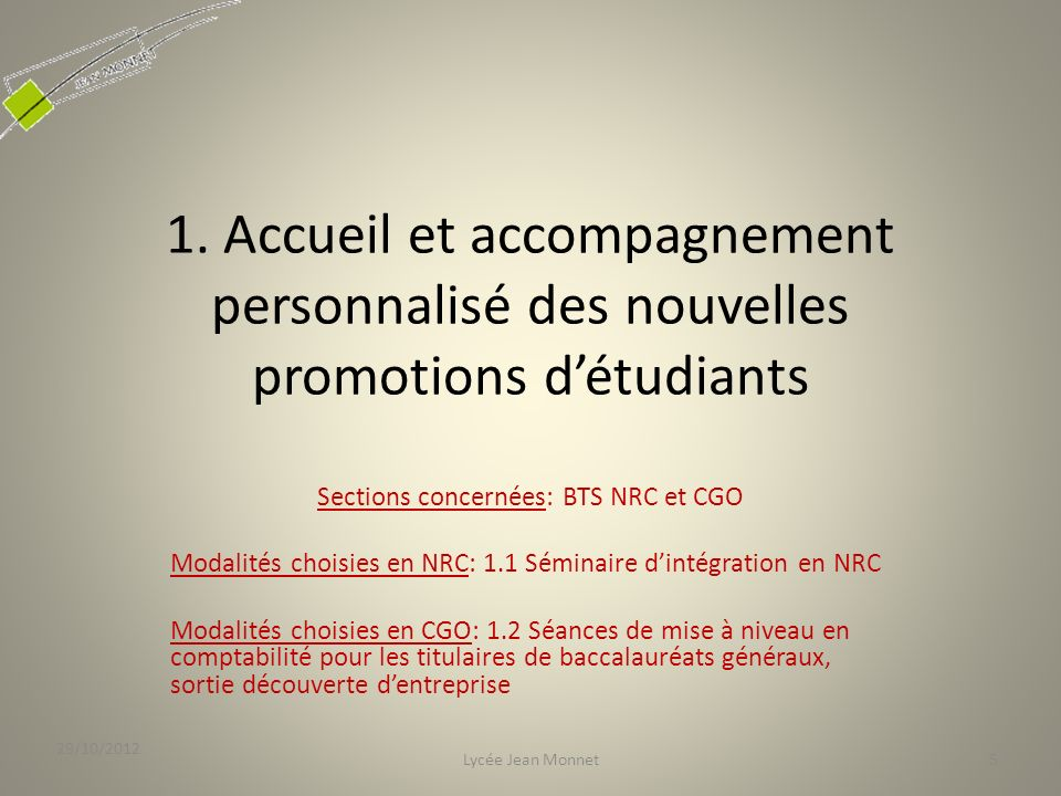 Sections concernées: BTS NRC et CGO