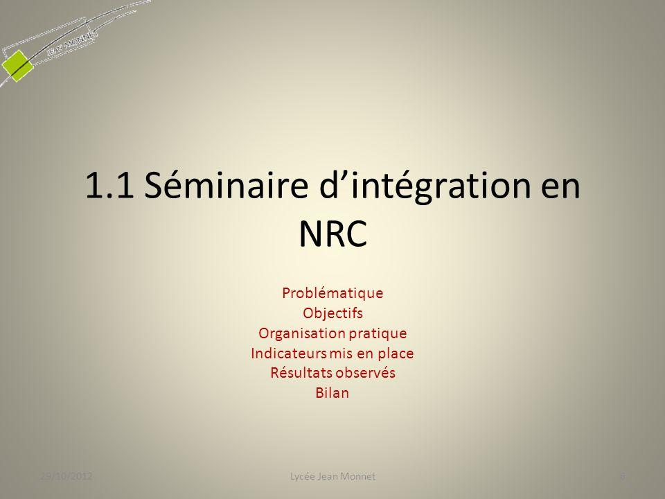 1.1 Séminaire d'intégration en NRC