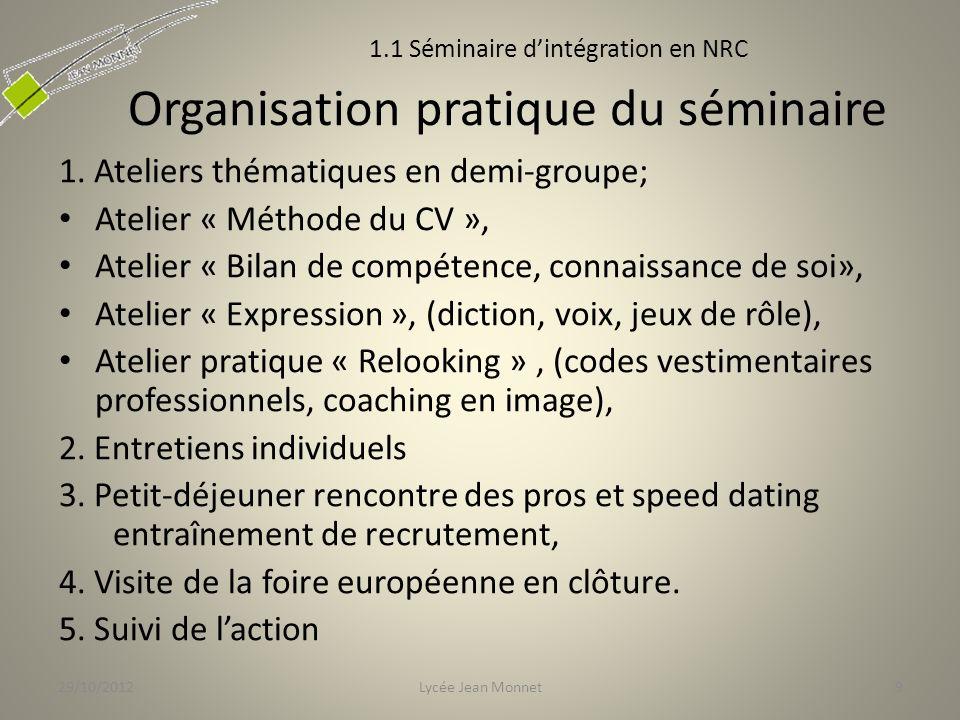 Organisation pratique du séminaire