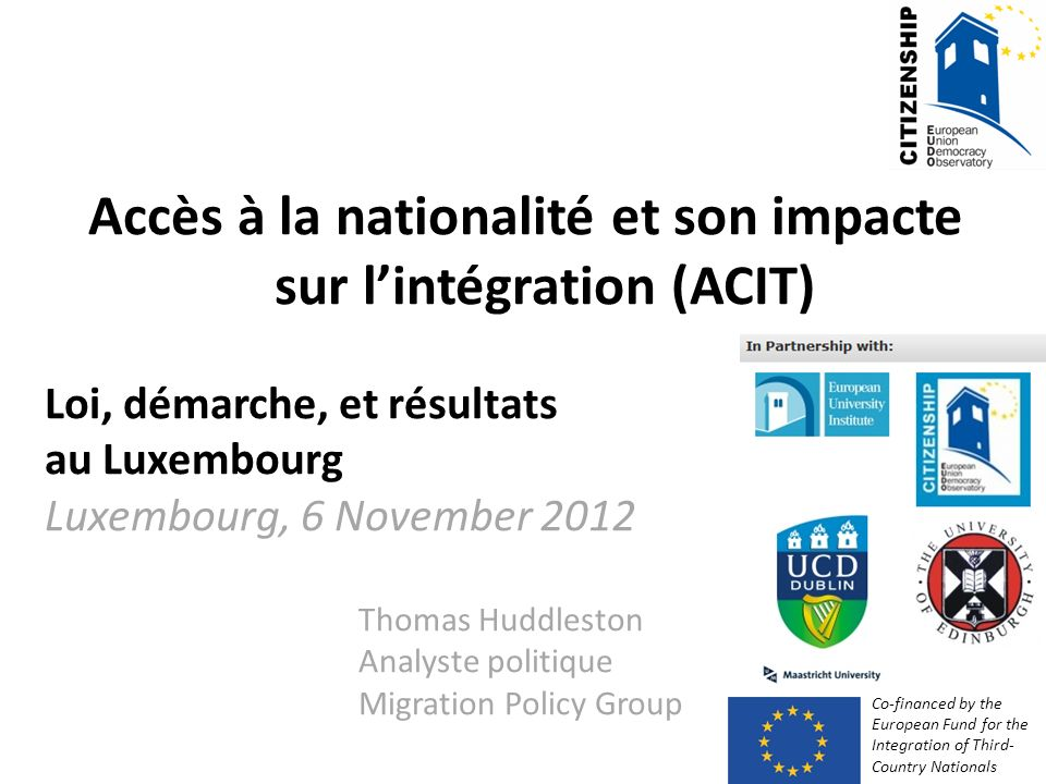 Accès à la nationalité et son impacte sur l'intégration (ACIT)