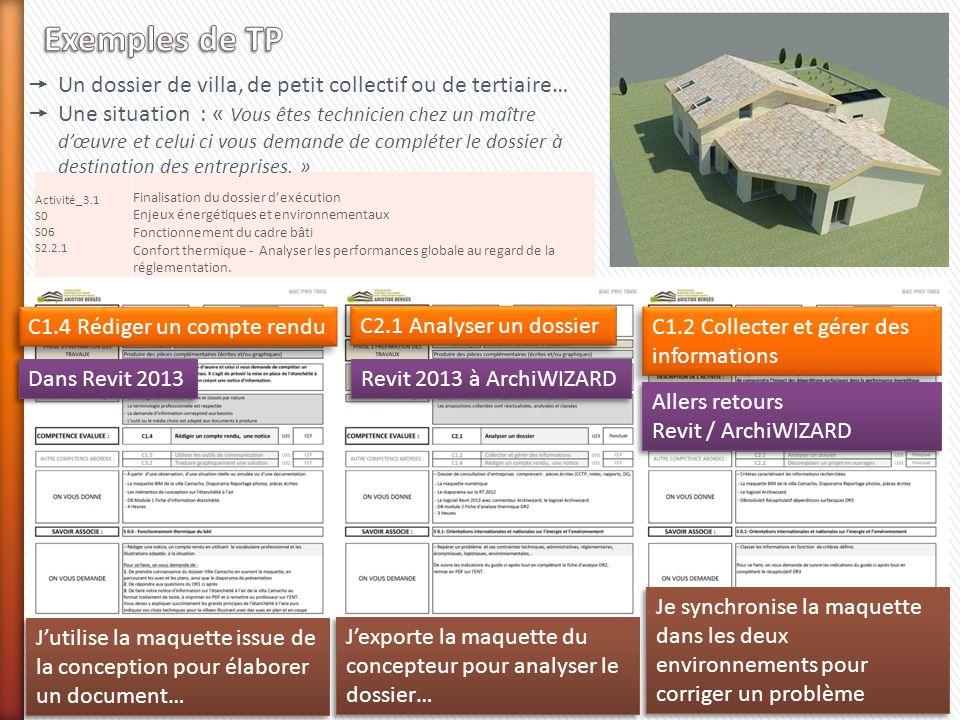 Exemples de TP Un dossier de villa, de petit collectif ou de tertiaire…