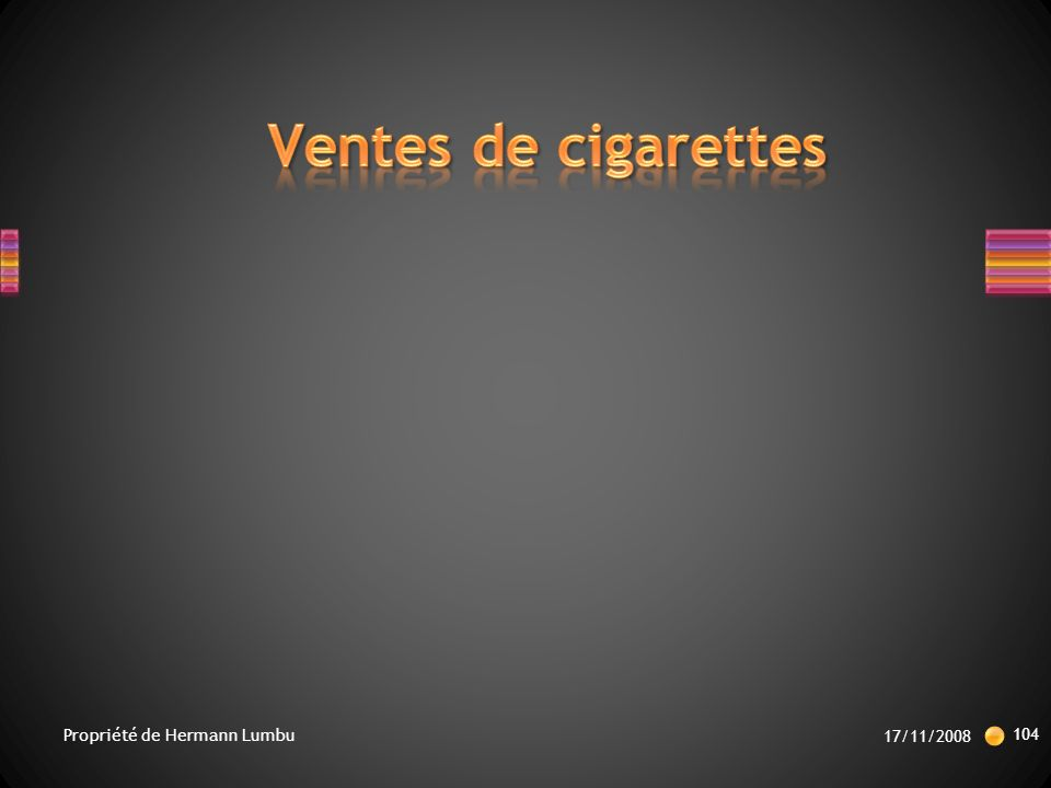 Ventes de cigarettes Propriété de Hermann Lumbu 17/11/2008