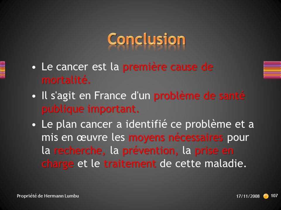 Conclusion Le cancer est la première cause de mortalité.