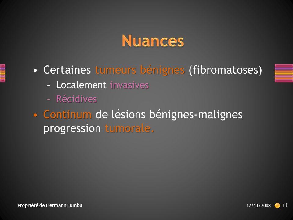Nuances Certaines tumeurs bénignes (fibromatoses)