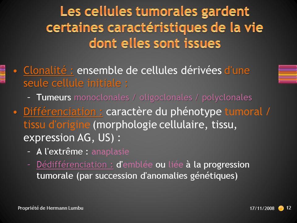 Les cellules tumorales gardent certaines caractéristiques de la vie dont elles sont issues