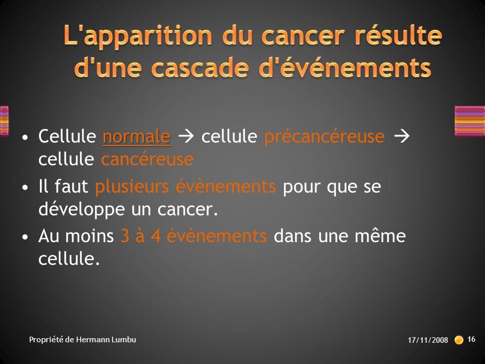 L apparition du cancer résulte d une cascade d événements