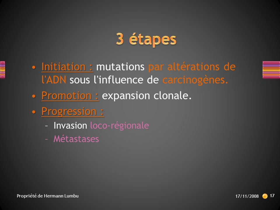 3 étapes Initiation : mutations par altérations de l ADN sous l influence de carcinogènes. Promotion : expansion clonale.