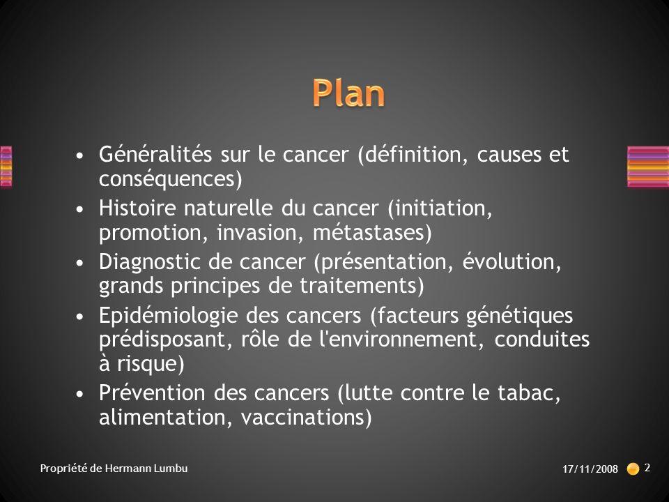 Plan Généralités sur le cancer (définition, causes et conséquences)