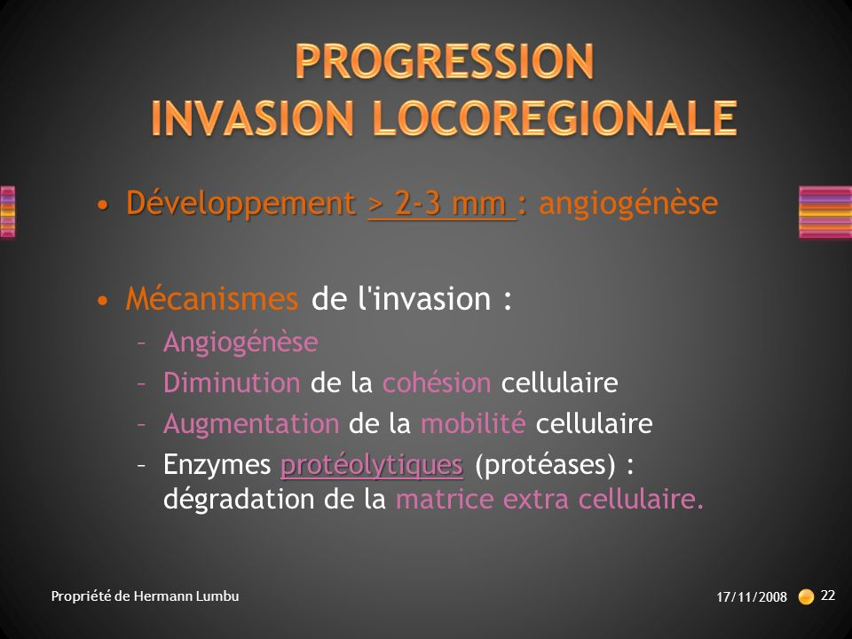 PROGRESSION INVASION LOCOREGIONALE