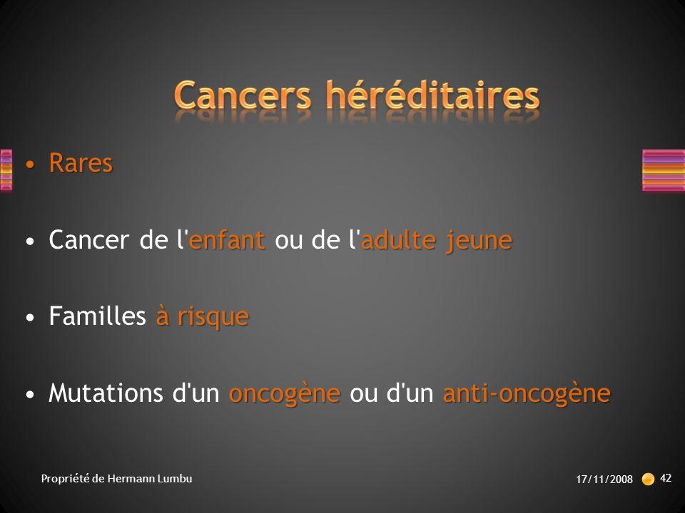 Cancers héréditaires Rares Cancer de l enfant ou de l adulte jeune
