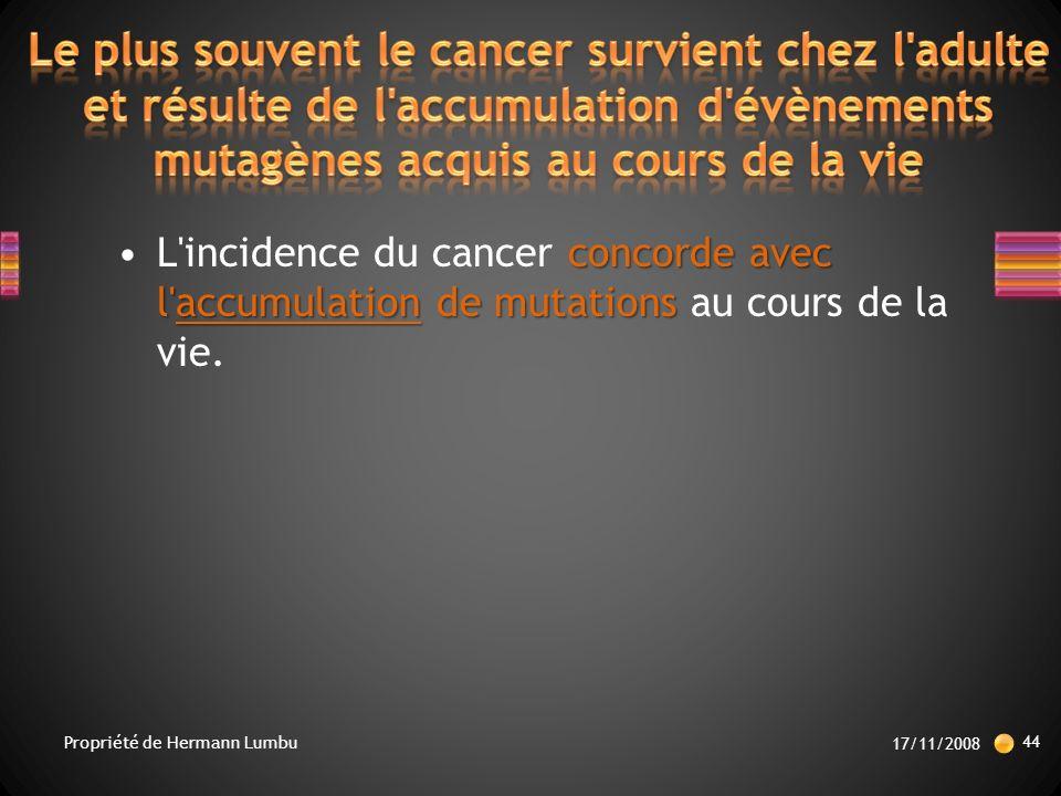 Le plus souvent le cancer survient chez l adulte et résulte de l accumulation d évènements mutagènes acquis au cours de la vie