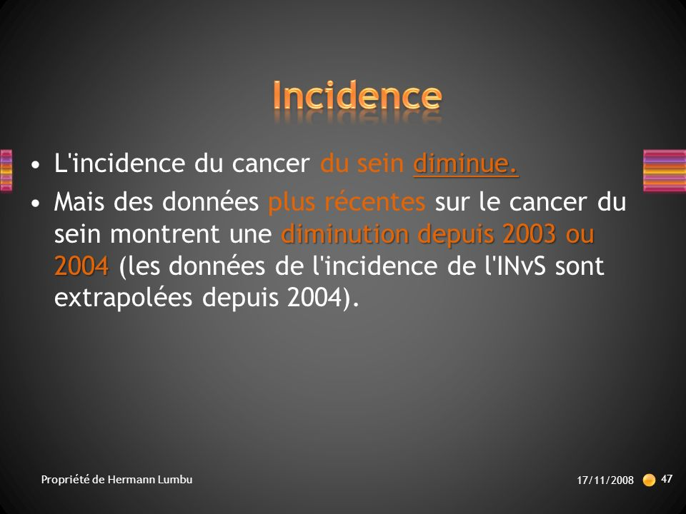 Incidence L incidence du cancer du sein diminue.