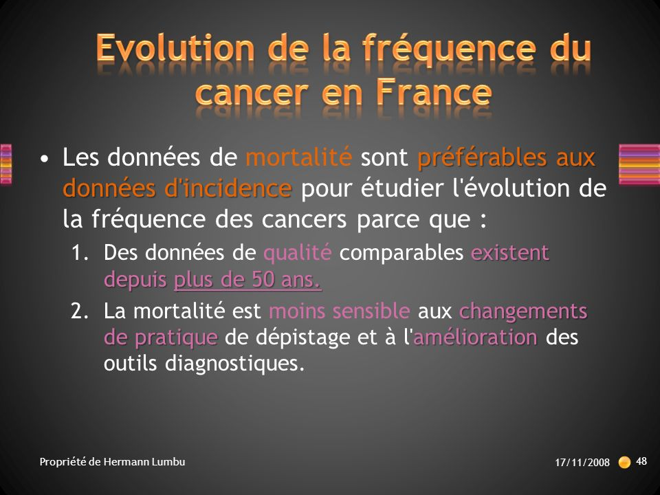 Evolution de la fréquence du cancer en France