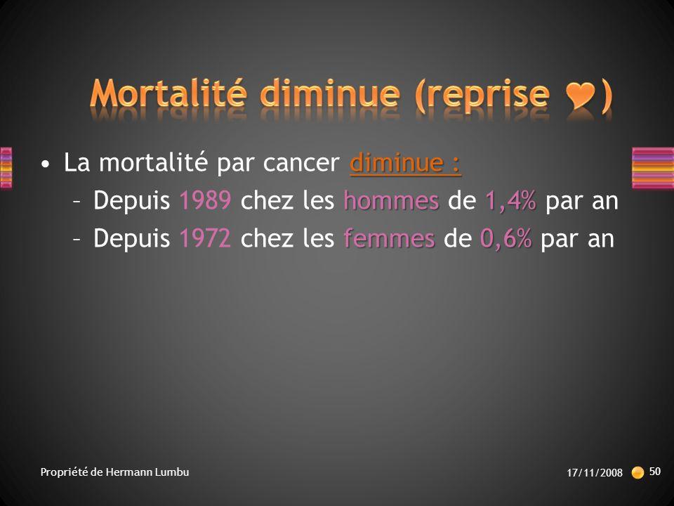 Mortalité diminue (reprise )