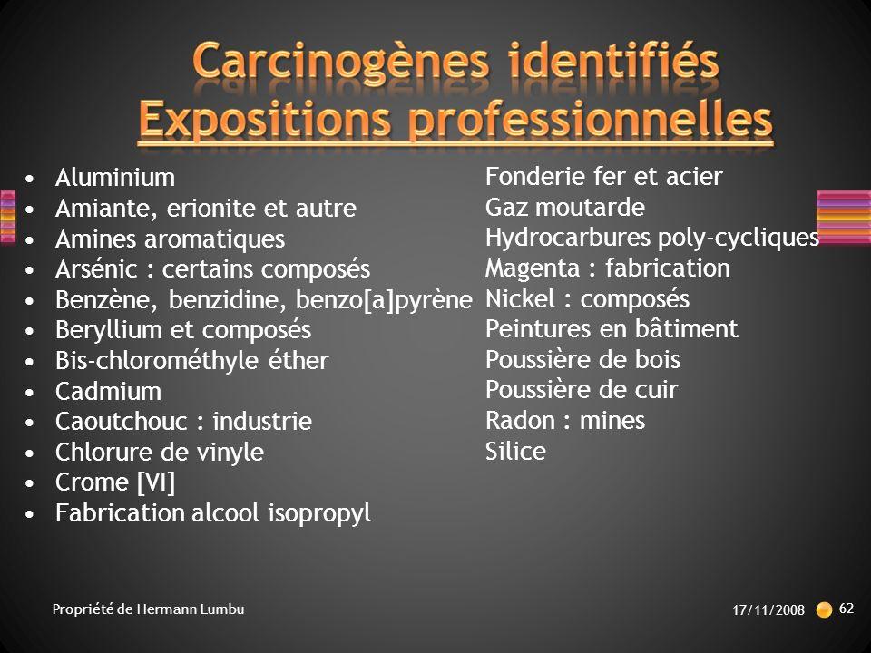 Carcinogènes identifiés Expositions professionnelles