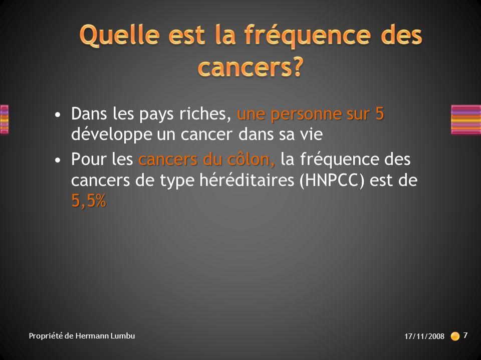 Quelle est la fréquence des cancers