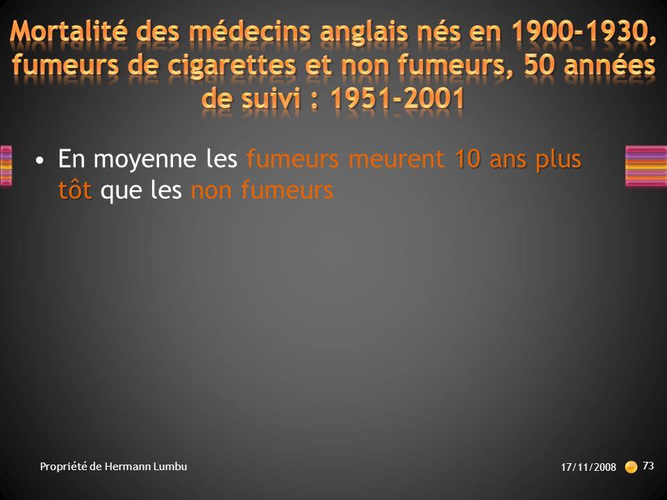 Mortalité des médecins anglais nés en 1900-1930, fumeurs de cigarettes et non fumeurs, 50 années de suivi : 1951-2001