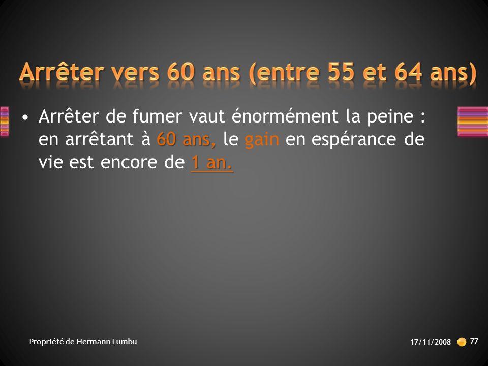 Arrêter vers 60 ans (entre 55 et 64 ans)