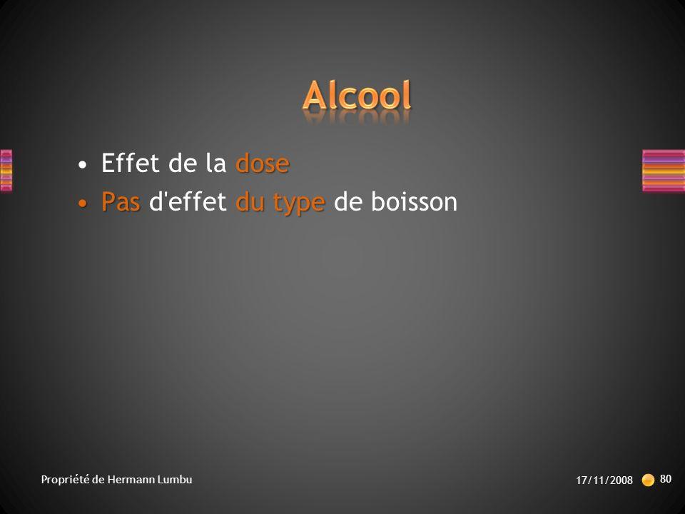 Alcool Effet de la dose Pas d effet du type de boisson