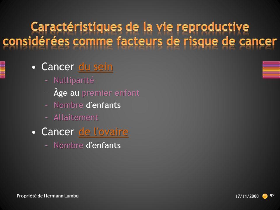 Caractéristiques de la vie reproductive considérées comme facteurs de risque de cancer