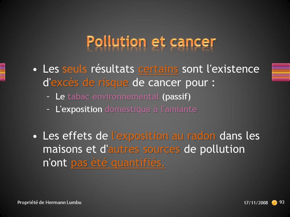 Pollution et cancer Les seuls résultats certains sont l existence d excès de risque de cancer pour :