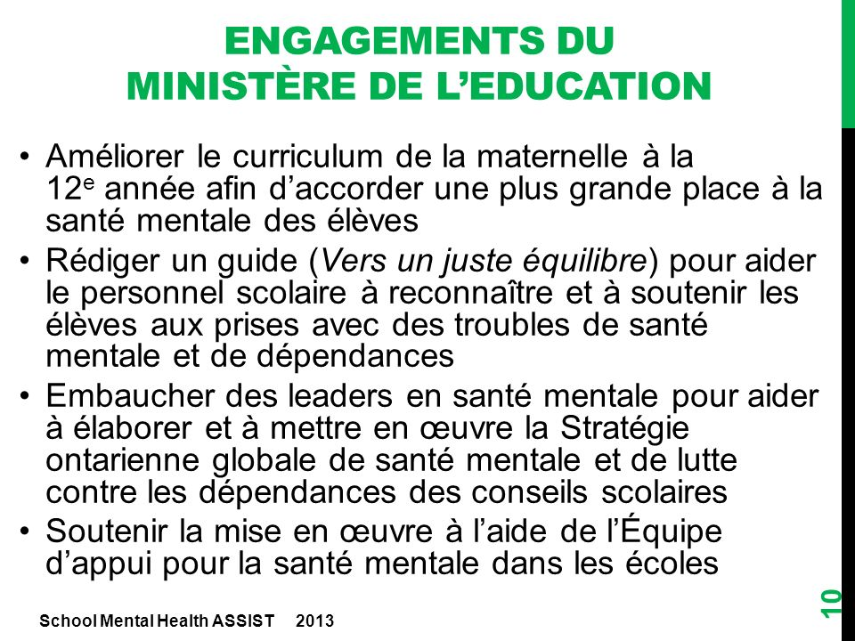 Engagements du ministère de l'education