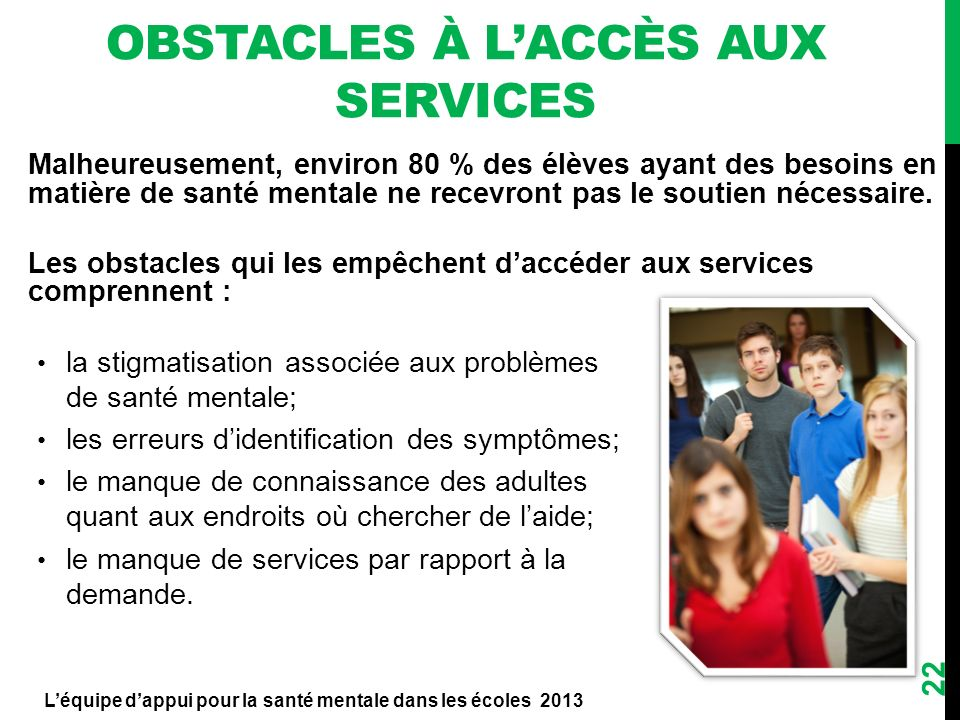 Obstacles à l'accès aux services