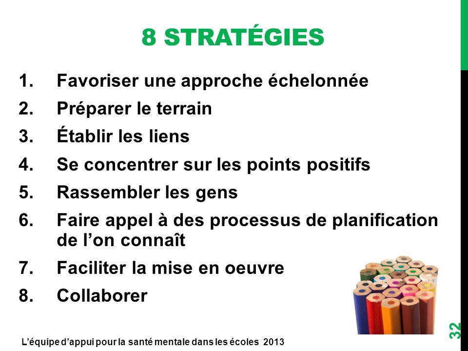 8 Stratégies Favoriser une approche échelonnée Préparer le terrain