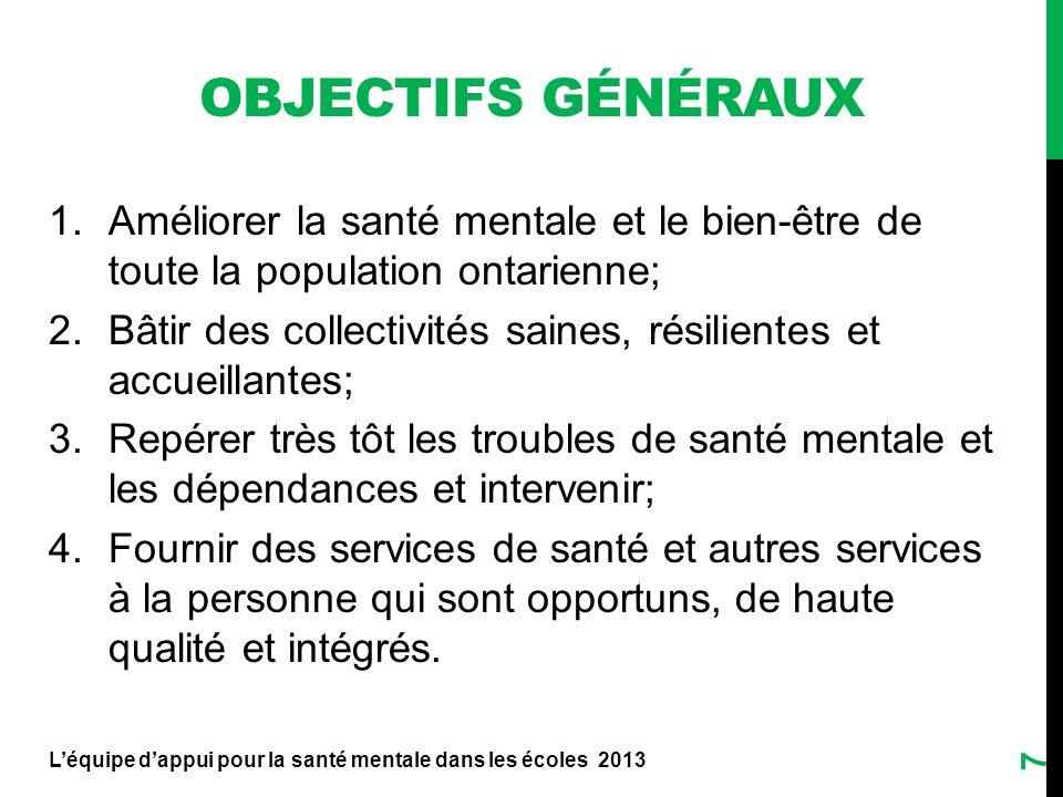 OBJECTIFS généraux Améliorer la santé mentale et le bien-être de toute la population ontarienne;