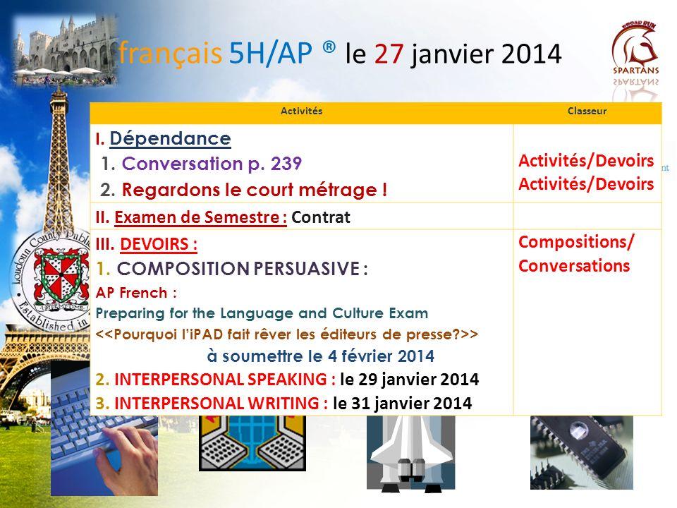 français 5H/AP ® le 27 janvier 2014