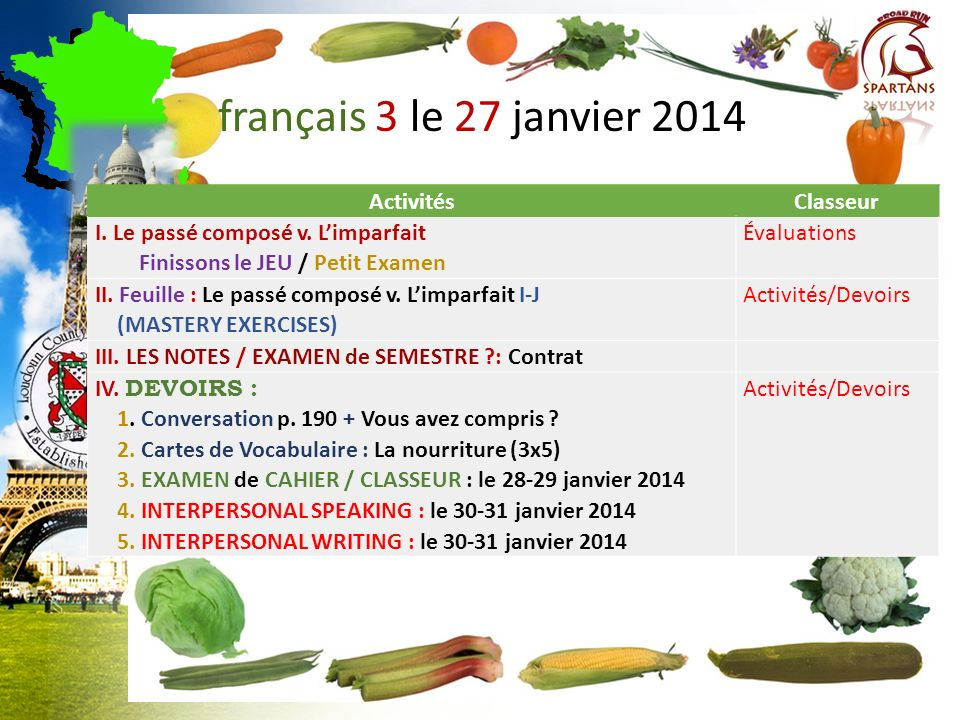 français 3 le 27 janvier 2014 Activités Classeur
