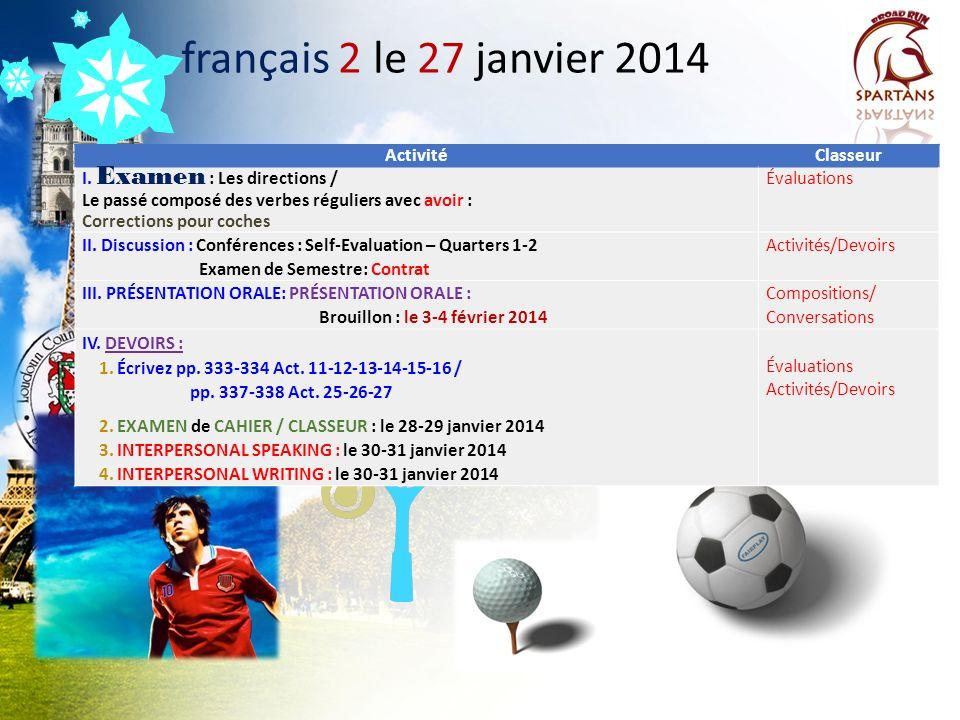 français 2 le 27 janvier 2014 Activité Classeur