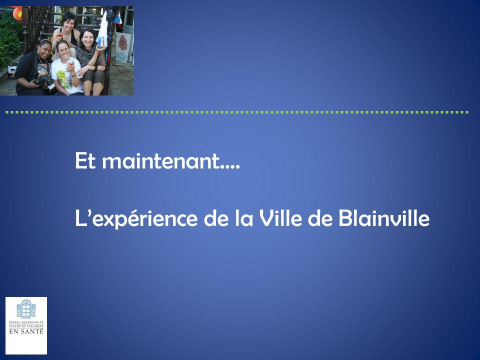 Et maintenant…. L'expérience de la Ville de Blainville
