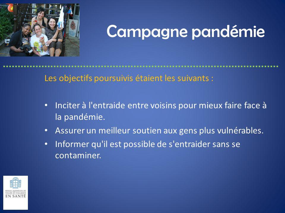 Campagne pandémie Les objectifs poursuivis étaient les suivants :